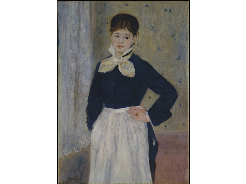 """<i>A Waitress at Duval's Restaurant</i> (1875) by Auguste Renoir depicts a waitress who worked at one of several Parisian restaurants established by a butcher named Duval. These """"offered a limited and affordable menu,"""" according to an 1881 guidebook, and were likely visited by Renoir."""