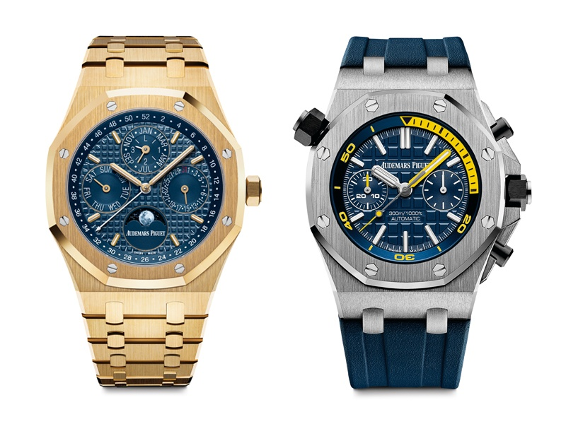 The iconic Royal Oak design (left) was the inspiration for the Audemars Piguet Royal Oak Offshore collection (right), which is a more sporty, masculine, and powerful take on the classic model. The Royal Oak Offshore collection has been given an extra sporting injection with the introduction of a limited-edition model, created by Formula One star Michael Schumacher.