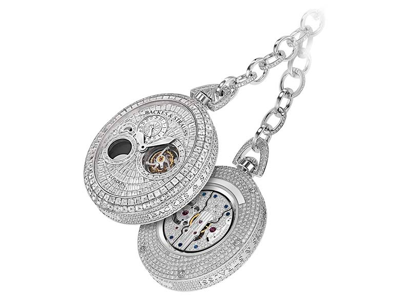 Backes & Strauss's Regent Beau Brummell Tourbillon Pocket Watch is set with 1,669 baguette and ideal-cut diamonds, totaling 37.91 carats.