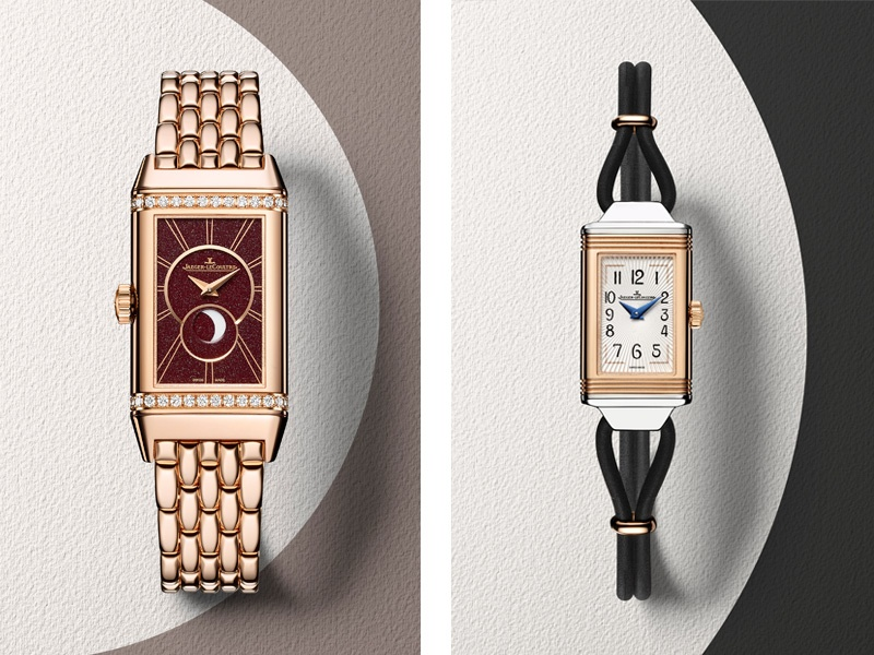 Reviving the elongated shape of 1930s watch cases, while lending a modern twist, Jaeger Le-Coultre's Reverso One collection includes the Duetto Moon (left) and the Cordonnet (right).