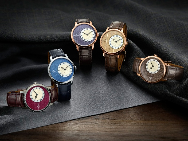 Vacheron Constantin's Métiers d'Art Élégance Sartoriale collection features five models, each of which displays fine embellishments and a fabric motif inspired by a classic gentleman's wardrobe.