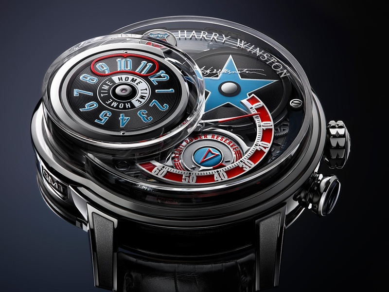 Harry Winston's Opus 14 takes its inspiration from the 1950s jukebox, with vinyl-style finishes. Limited to only 50 pieces, each watch comprises 1,066 components.
