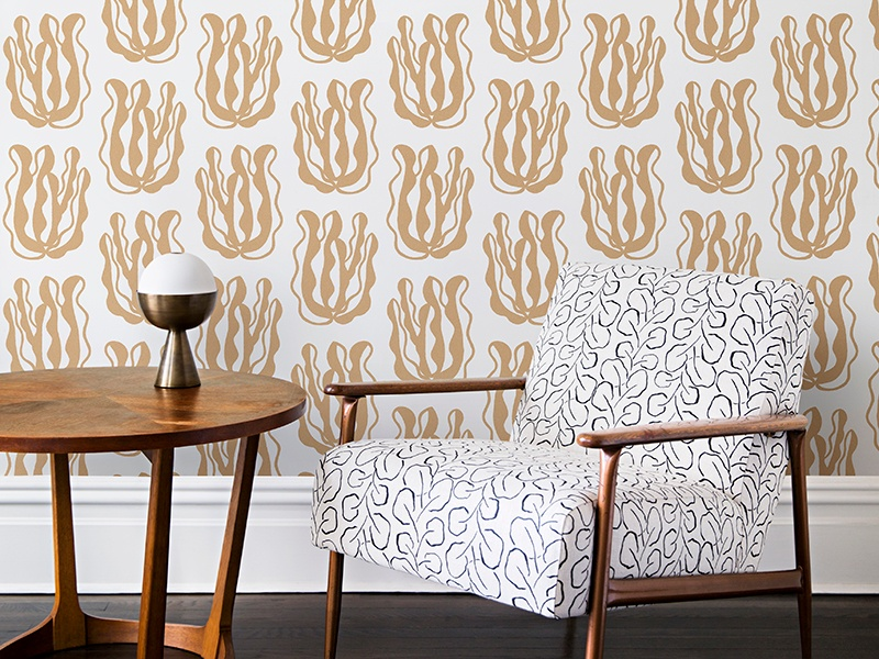 Seaweed wallpaper in bronze offers a calming atmosphere alongside the drama of Wayne Pate's bold design. Photograph: Brittany Ambridge.