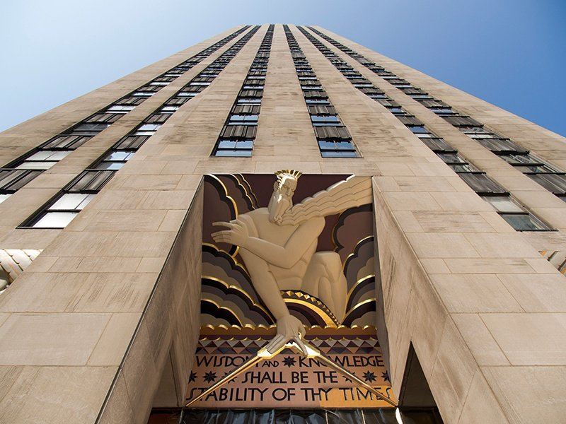 Lee Lawrie's Art Deco icon <i>Wisdom</i> (1933) presides over the main entrance at 30 Rockefeller Plaza. Lawrie was one of America's leading architectural sculptors. Photograph: Alamy