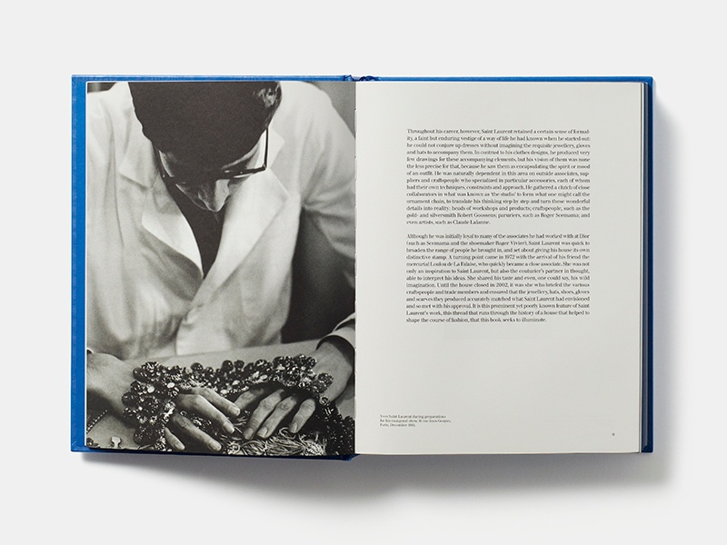 Opened to pages 8-9, <i>Yves Saint Laurent: Accessories</i> (Phaidon Press) shows the foreword by Patrick Mauriès.