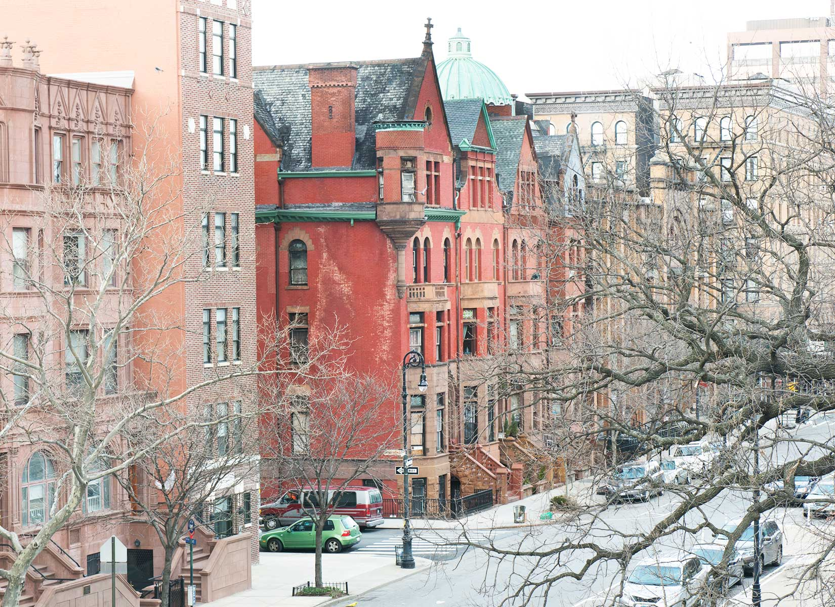 Harlem's architectural grandeur forms the view from the master bedroom window.