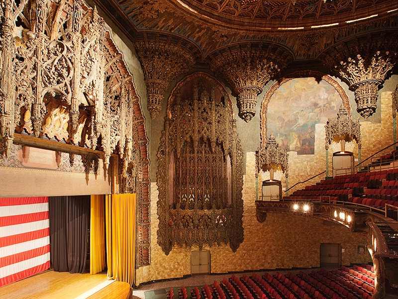 The Theatre at Ace Hotel was renovated in the intricate Spanish Gothic style in 1927. It now hosts concerts, movie premieres, conferences, symposiums, and other performances. Photograph: Spencer Lowell