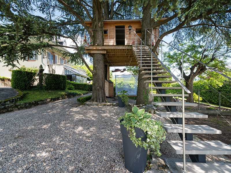 In addition to a swimming pool and summer kitchen, the property also has its own treehouse. Photograph: Agence Clerc