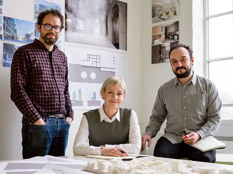 """An architect's skill lies in """"connecting spaces and people more joyfully,"""" says Alison Brooks, principal of Alison Brooks Architects, pictured here with projects director Michael Woodford (left) and associate Nelson Carvalho (right). Photograph: Cristian Barnett"""