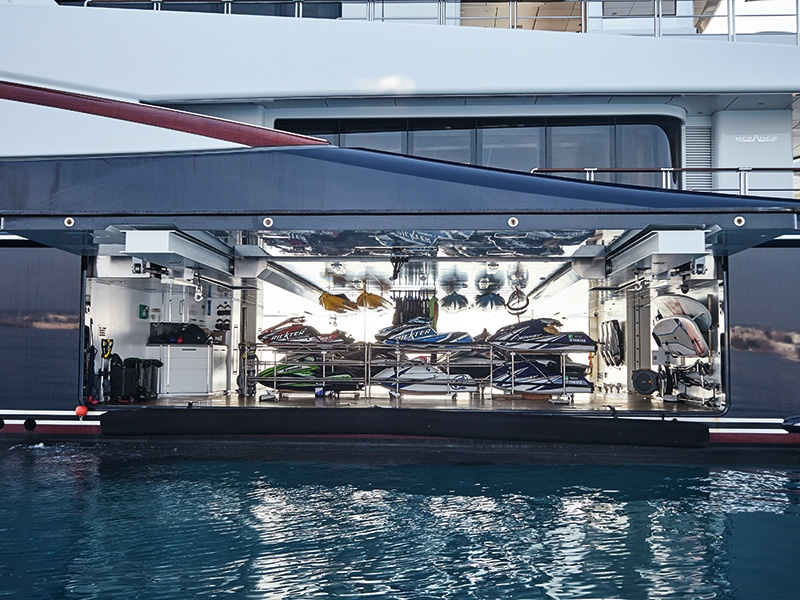 A well-stocked garage with side-opening doors and extensive storage makes <i>Anastasia</i> ideal for lovers of water sports.