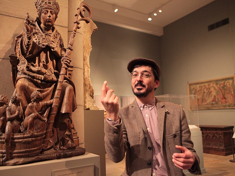 Angelis Nannos, founder of In Food We Trust, leads small groups on a tour of the Met's foodie art, sharing tasty facts and trivia while exploring the deeper historical and cultural messages behind each piece. Banner image: <i>Garden Gathering</i>, a tile thought to be of Iranian origin, and created around the 1640s or 1650s. This work provides a glimpse into a seventeenth-century Persian garden, with all its delicious delights.