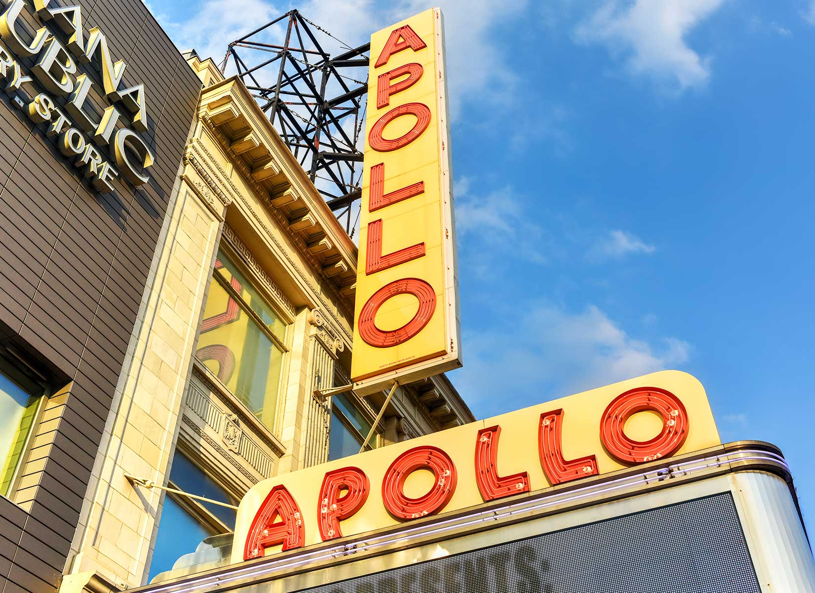Harlem's world-famous Apollo Theater at 253 West 125th Street. Ella Fitzgerald, Billie Holiday, and Sammy Davis Jr. are just some of the legends to have graced its stage. Today, the theater is home to the Apollo Theater Foundation, a not-for-profit organization presenting concerts, performing arts, education and community outreach programs.