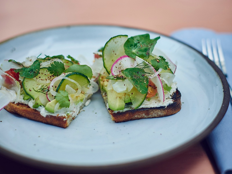 A classic brunch at Otium: avocado on toast, with cucumber, salad leaves, and dill. Photograph: Sierra Prescott