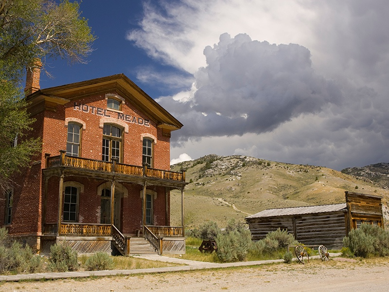 More than 60 structures remain standing in Bannack, Montana. Founded in 1862 at the peak of the Montana gold rush, the town's population dwindled to zero as miners moved on to more profitable claims. Photograph: Alamy