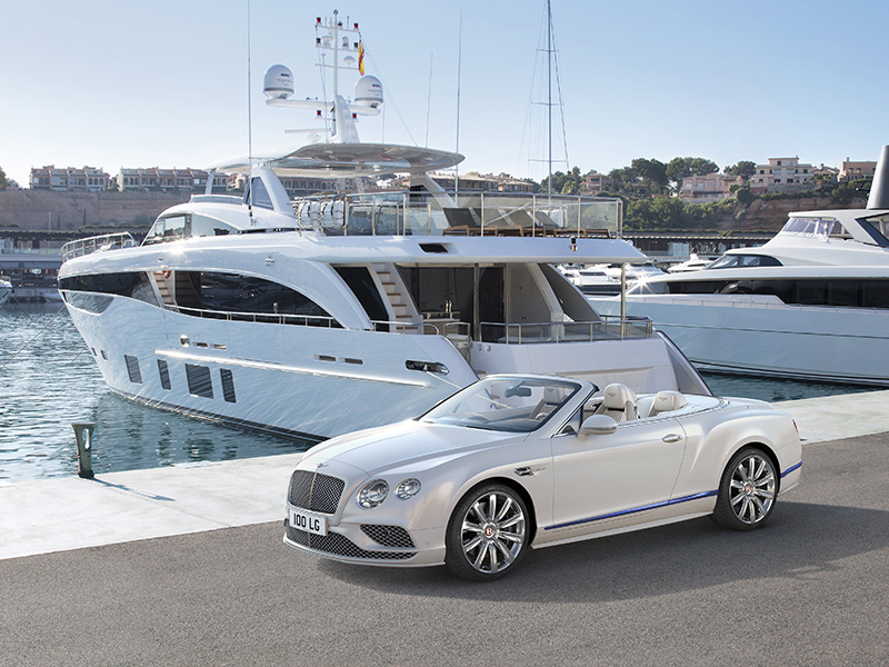 Luxury carmaker Bentley collaborated with Princess Yachts to create the sleek and elegant Continental GT Convertible Galene Edition.