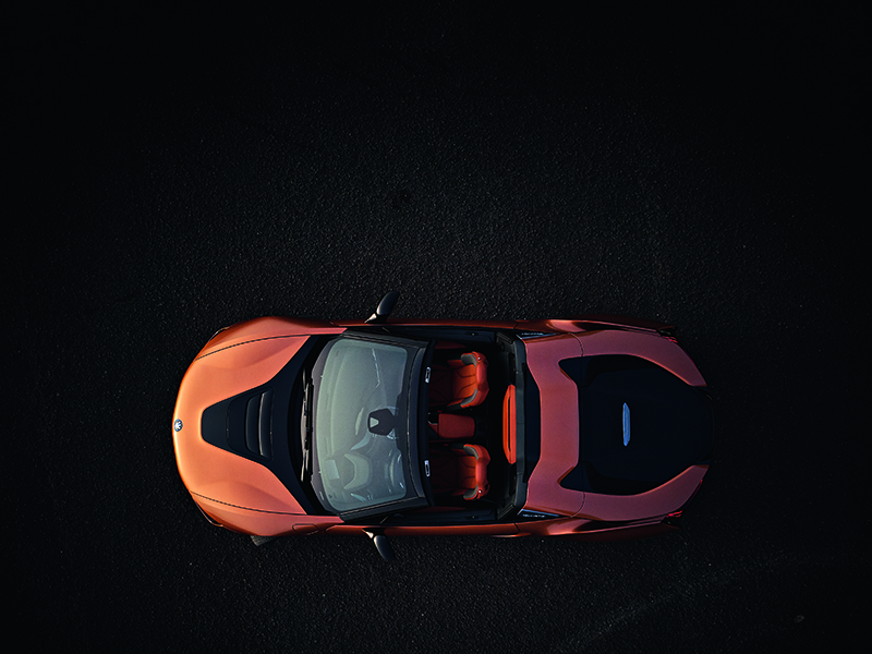 The sleek, sporty design of the BMW i8 Roadster is matched by its advanced technical specifications.