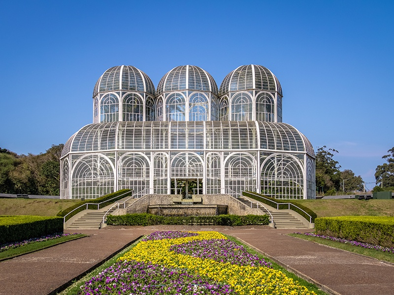 The glass and steel greenhouse at Brazil's Botanical Garden of Curitiba is reminiscent of the palaces of 19th-century France. Photograph: Shutterstock