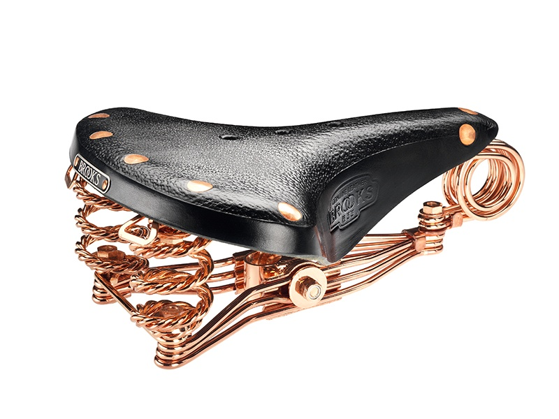To celebrate its 150th anniversary, Brooks England recreated its most iconic bike saddles with copper frames and copper rivets, and black leather. The B33 was originally designed in 1938 for heavy-duty cycling.