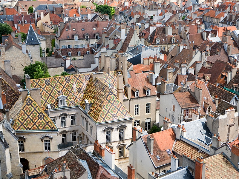 The patterned roofs of Burgundy are primarily found on buildings such as the Hospices de Beaune and the merchants' houses in Dijon. Photograph: Getty Images