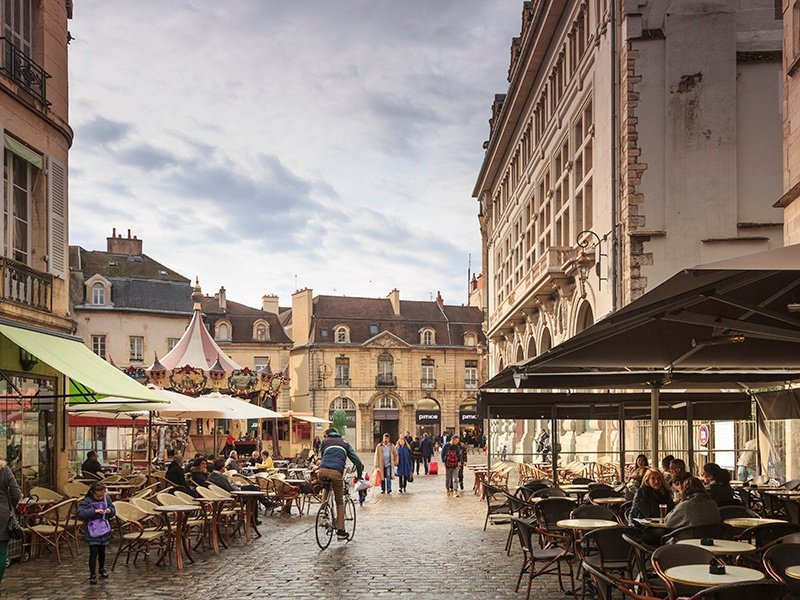 Probably best known around the world for its mustard, Dijon is also the gateway to the Côte de Nuits region and its world-class wines. Photograph: Getty Images
