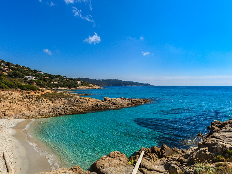 A protected region, the peninsula coastline of Cap Camarat is studded with picturesque coves and beaches. Photograph: Getty Images. Banner image: Inland from Saint-Tropez and Cap Camarat, the ruins of Grimaud Castle overlook the medieval village of Grimaud. Photograph: Getty Images