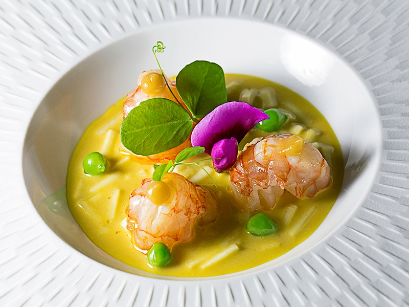 One of Carme Ruscalleda's signatures: a dish of prawns with saffron, celery, and peas showcases the freshest seafood.