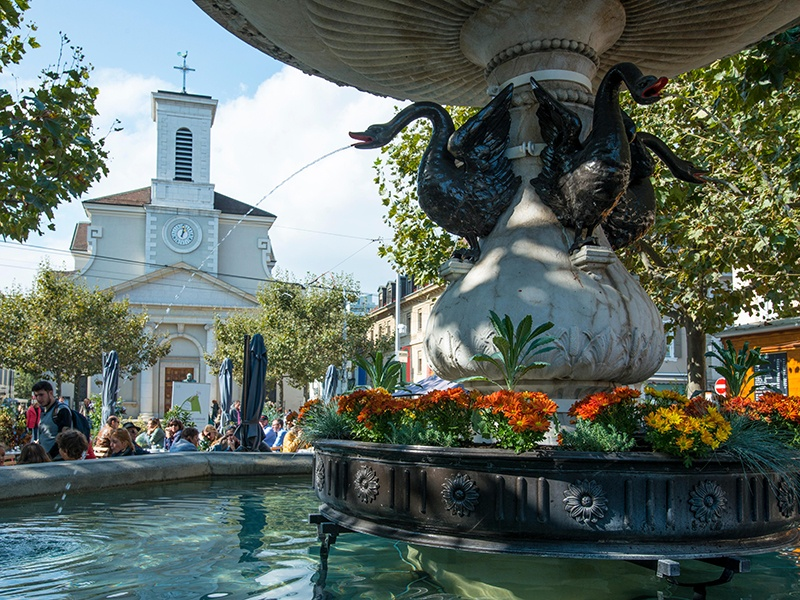 With a somewhat Mediterranean charm, Carouge on the outskirts of Geneva boasts cobbled streets lined with bohemian boutiques, and chic bars and cafés. Photograph: Alamy