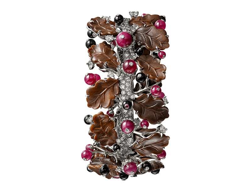 This cuff, in white gold, petrified wood, rubies, onyx, and diamonds, is part of Cartier's 2017 Résonances de Cartier collection.