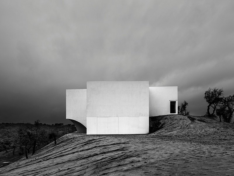 The striking Casa Fontinha is set in the Portuguese countryside in the town of Melides. The bright white geometric buildings were designed by Lisbon architects Aires Mateus. Photograph: Juan Rodriguez. Banner image: Domus Aurea by Alberto Campo Baeza in Monterrey, northern Mexico. Photograph: Javier Callejas