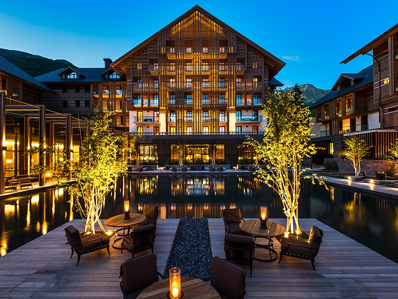 The Chedi Andermatt offers five-star luxury, and the alpine exterior perfectly complements its mountainous surroundings.