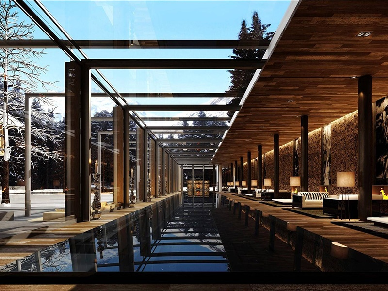 Owners of a residence at The Chedi Andermatt can enjoy the beautiful exterior spaces—which marry alpine elegance with Asian touches.