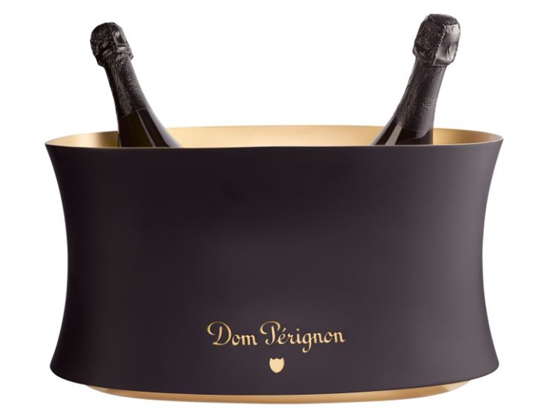 The sleek Dom Pérignon champagne vasque by Martin Szekely holds four standard bottles or two magnums of bubbly.