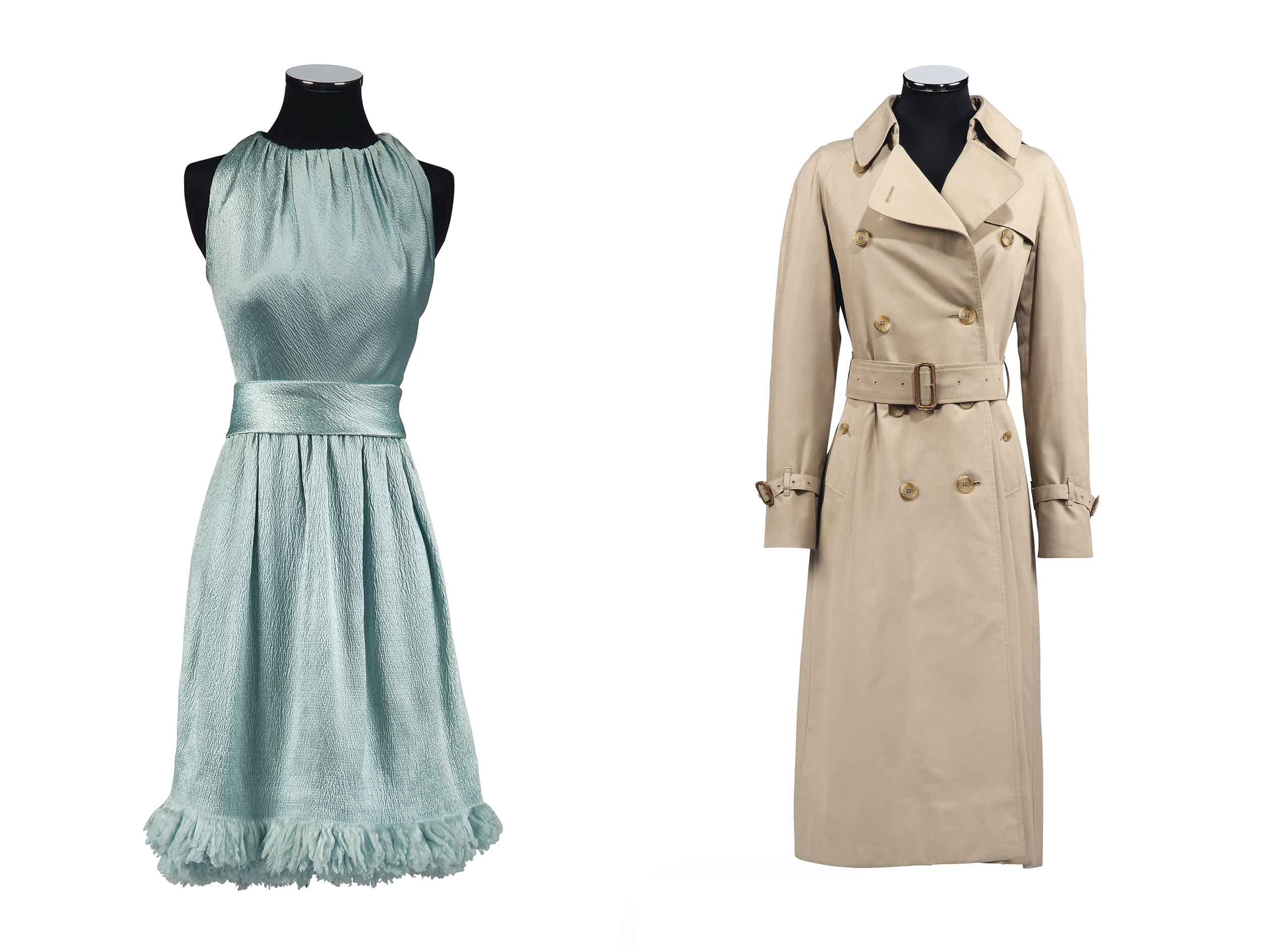 <b>Left: <a href=&quot;http://www.christies.com/lotfinder/textiles-costume/two-for-the-road-1967-a-6100109-details.aspx?from=salesummery&amp;intObjectID=6100109&amp;sid=a6206178-1dea-40e4-ba16-e39232576e6e&quot;>A PALE BLUE CLOQUE SATIN COCKTAIL GOWN</a></br>GIVENCHY COUTURE, AUTUMN-WINTER, 1966-67</br> Gathered onto the neck, with wrapped cummerbund belt, couture tag 33387, worn by Audrey Hepburn in publicity portraits for the 1967 20th Century Fox production Two For The Road</b></br> Estimate: £10,000-15,000</br></br><b>Right: <a href=&quot;http://www.christies.com/lotfinder/textiles-costume/a-three-quarter-length-trench-coat-burberry-early-6100026-details.aspx?from=salesummery&amp;intObjectID=6100026&amp;sid=a6206178-1dea-40e4-ba16-e39232576e6e&quot;>A THREE-QUARTER LENGTH TRENCH COAT</a></br> BURBERRY, EARLY 1980S</b></br> Lined in iconic Burberry cotton plaid, with leather buckles, double-breasted</br>Estimate: £6,000-9,000