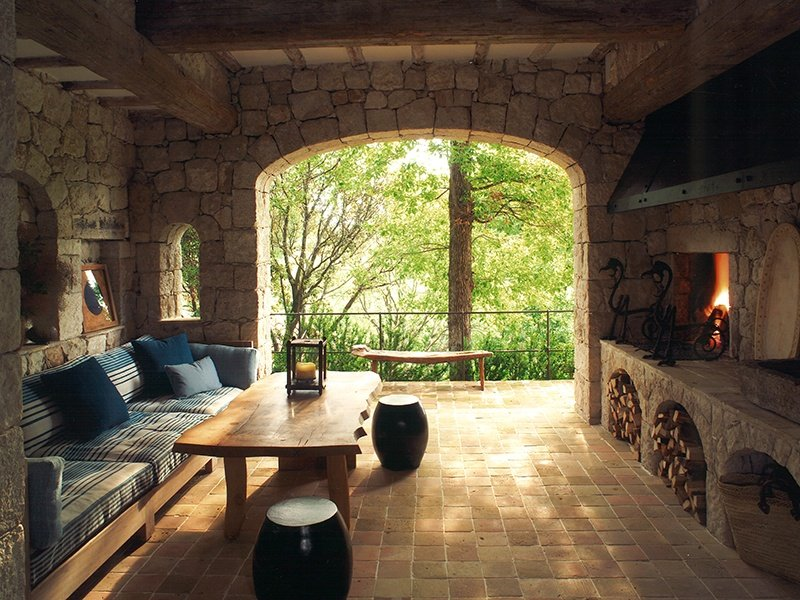 To provide protection from the weather, Collett-Zarzycki often incorporates a loggia—a room with one or more open sides—to create a feeling of being outdoors.