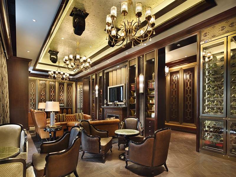 Opulence is the order of the day at the gentlemen's lounge in the Wanda Reign hotel, Shanghai.