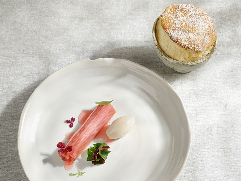 Marinated rhubarb is the centerpiece of the accompaniment to Steirereck's Hemp Seed Soufflé – almost a dessert in its own right. Photograph: Steirereck GmbH