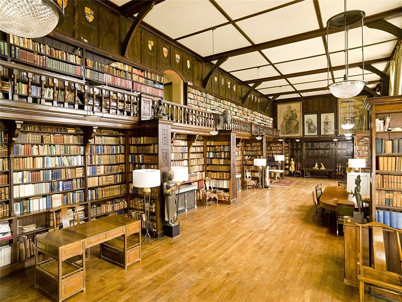 The 70-foot-long (21 m) library at The College in the UK contains 22,000 books belonging to the Coleridge family.