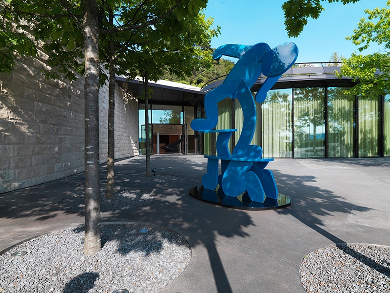 Keith Haring's <i>Untitled Figure Balancing on Dog</i> is among the sculptures featured at the Dolder Grand in Zurich. Photograph: The Dolder Grand