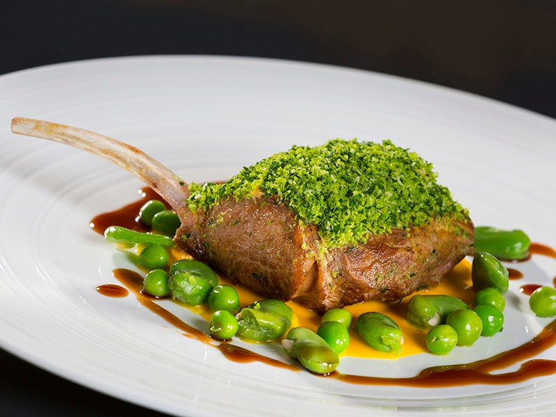 At The Merrion's Garden Room, herbed rack of lamb (pictured), steamed Kilmore Quay lemon sole, and smoked cauliflower with truffle and dulse seaweed are just a taste of what's on offer.