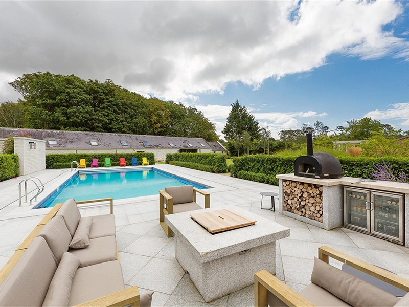 The pool and patio area features a pizza oven and barbecue, as well as outdoor fridges. Photograph: Sherry FitzGerald Group