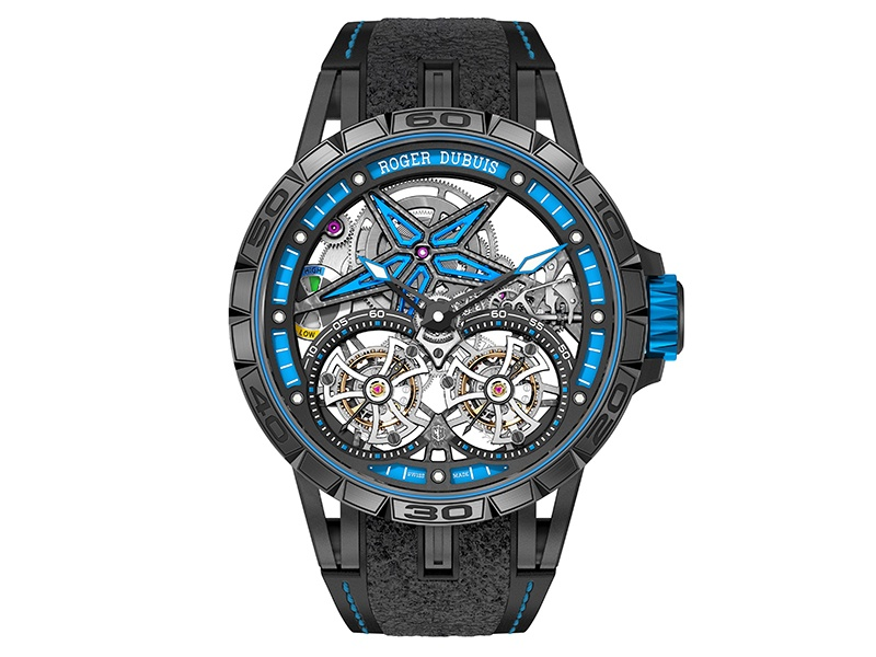 The strap of Roger Dubuis's Excalibur Spider Pirelli—Double Flying Tourbillon watch has rubber inlays from certified Pirelli tires that have won real races.