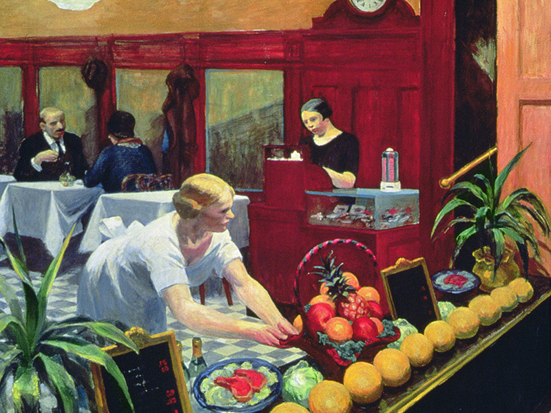 Edward Hopper's <i>Tables for Ladies</i> (1930) is among the works featured by Angelis Nannos in his food-art tours of the Met.