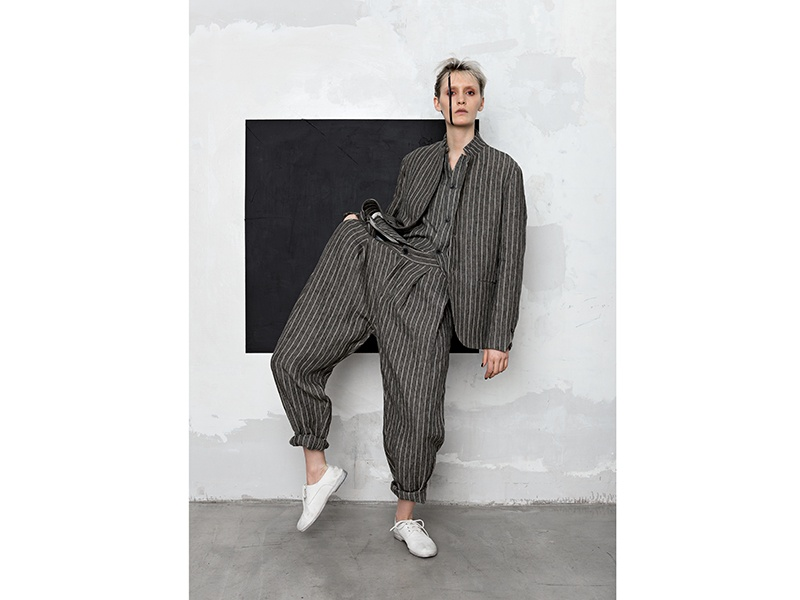 """A recent photo shoot references the work of Suprematist painter Kazimir Malevich. """"Kazimir Malevich's <i>Black Square</i> represents the transcendence of boundaries and the liberation from the constraints of calculated rationality,"""" Tramezzini says."""