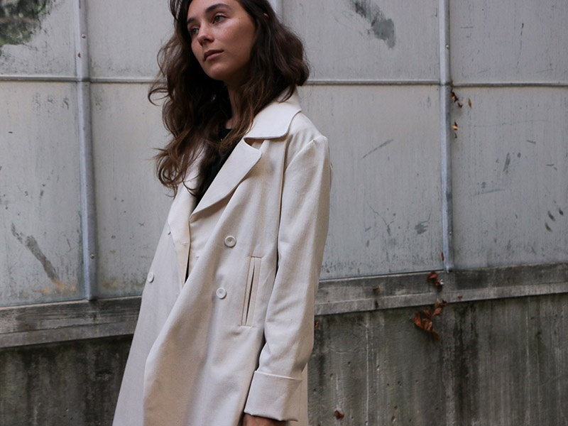 The stretch cotton twill Hugo peacoat from Erica Tanov's Fall 2017 Collection. Photograph: Gabrielle Stiles