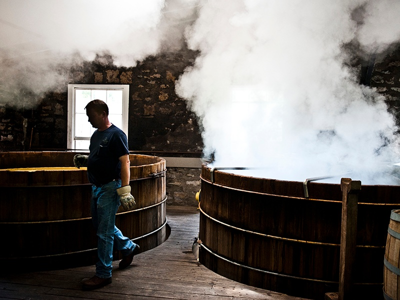 Extended fermentation in wooden washbacks helps to create great depth of flavor in Woodford Reserve's bourbon.