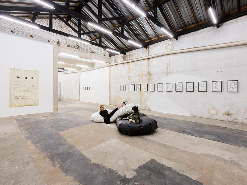 Brazilian artist Ricardo Basbaum's <i>Cut-Contact-Contamination</i> (2017) at Galeria Jaqueline Martins.