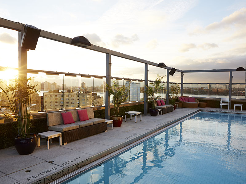 A highlight of the Gansevoort Meatpacking NYC hotel is its rooftop pool, and the excellent panoramic views.