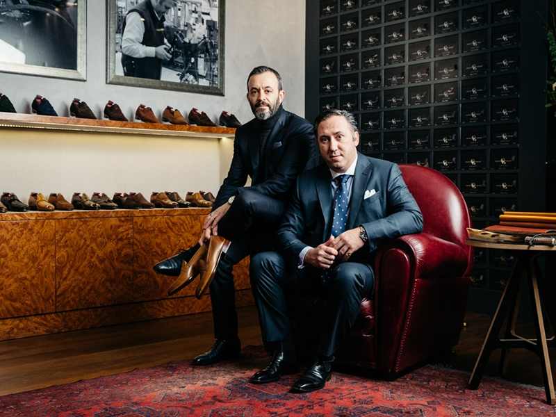 Tony Gaziano (left) and Dean Girling among their bespoke and benchmade designs in their Savile Row atelier. Photograph (and banner image): Greg Funnell