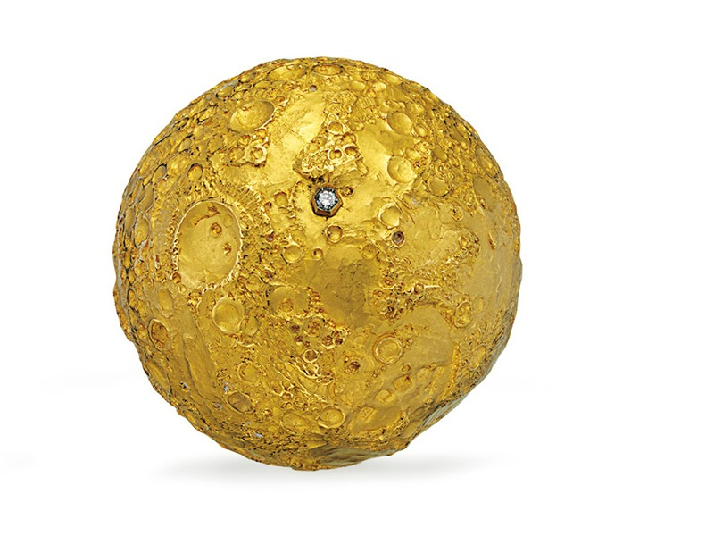 The first editions of this exquisite gold and diamond model of the moon by Louis Osman and Malcolm Appleby were presented to the crew of the Apollo 11, which landed the first men on the moon in 1969.