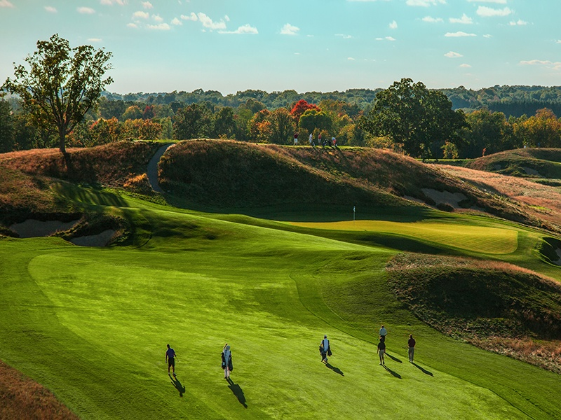 Erin Hills, host of the 2017 U.S. Open, occupies a swath of rolling countryside created by glacial movement over 20,000 years ago. Photograph: Paul Hundley. Banner image: Danish company Garia crafts smart, street-legal golf cars—not carts.